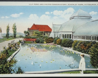 Pittsburg, PA, Phipps Conservatory and Lily Pond, Schenley Park, Antique Postcard Circa 1920