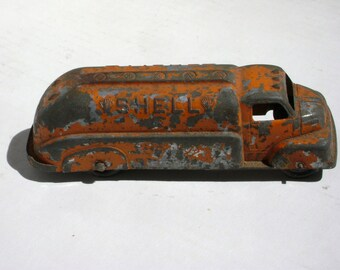 Tootsie Toy Truck, Shell Tanker, Orange, Die Cast, Ribbed Rubber Wheels, Made in USA 1930 1940s