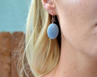 blue tanzanite dangle earrings, blue tanzanite oval earrings, blue stone oval earrings,bridesmaid gifts