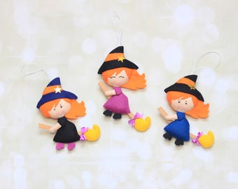 Cute witch on a broomstick halloween decoration Halloween witch felt ornament Halloween favors Knob decoration Witch figurine Halloween tree