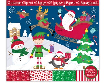 Christmas Clipart,Christmas Digital Papers,Christmas Clip Art,Santa Clipart,Elf Clipart,Reindeer,Holiday Clipart,Commercial Use (C3)