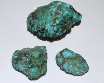 3pc Rare 8.2g Authentic Natural Raw Morenci Turquoise w/ Pyrite Crystal Nugget Set - Morenci, Arizona, USA - Item:TQ17060