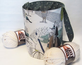 Large Knitting or Crochet Project Bucket Bag. Edward Gorey Tote Bag with Pockets.