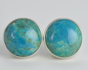 chrysocolla 10mm sterling silver stud earrings