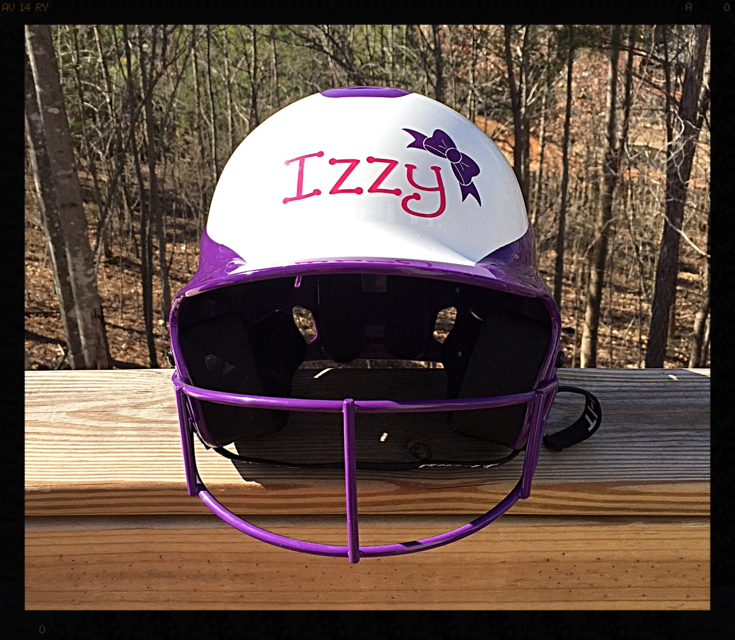Monogrammed/Personalized Softball Helmet Decal/Sticker with a