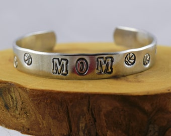Basketball  Mom sports fan hoop dreams food grade aluminum hand stamped bracelet
