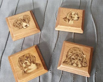 Wood coaster set of 4, different Beagle images stained on each coaster! Polyurethane finish. Beagle puppies!
