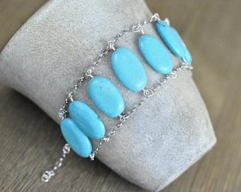 Howlite Turquoise adjustable bracelet