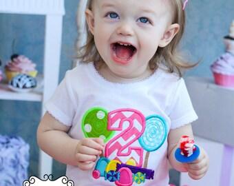 Candy Birthday - Girls Chevron Applique Shirt & XL Matching Hair Bow Set with Puff