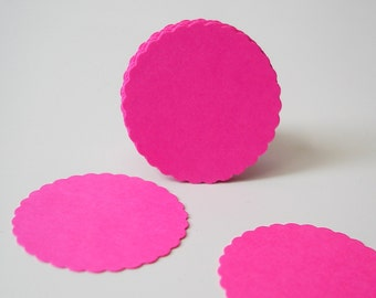 "50 Hot Pink Fuchsia Scalloped Circles punch die cut scrapbook embellishments - 1"" circles - No736"