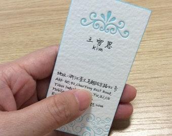 Items similar to custom extra thick letterpress business card on etsy 200pcs letterpress business card colourmoves