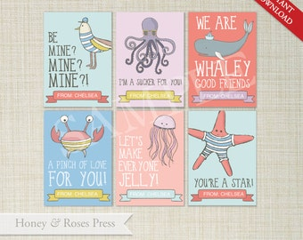 Sea Valentine's Day Cards . Underwater Valentines . Kids Valentines Cards . Class Valentines . Printable Valentines . Instant Download