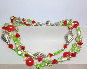 Peridot Perfection Three Strand Bracelet