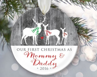 """Our First Christmas as Mommy & Daddy Personalized Christmas Ornament New Parents Ornament Deer Gray """"wood"""" Keepsake Buck Doe Deer OR023"""