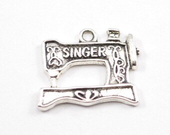10pcs - Antique Silver Sewing Machine Charms - 19mm x 20mm - Bracelet Charms - Bulk - Wholesale - WB47