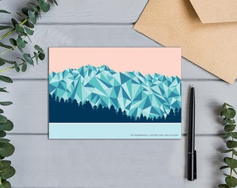 The Remarkables Mountain Range, Queenstown, New Zealand Geometric Design Card