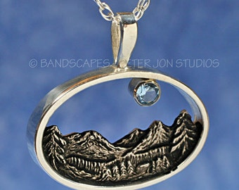 BLUE MOON Over Crystal Peaks, Mountain pendant in Sterling Silver, Mountain jewelry, Tree pendant
