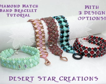 Silky Diamond Watch Band Bracelet Pattern, Three Design Options in One Tutorial, Two-Hole Diamond Silky Bead Pattern, O Bead, Tri Bead PDF