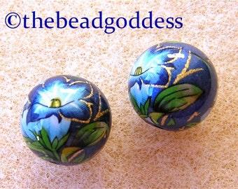 Pair Japanese TENSHA Beads Morning Glory on Blue Metallic 12mm