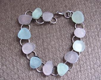 Sea Glass Bracelet, Beach Glass Bracelet, alternate amethyst and sea foam Sea Glass Beach Glass