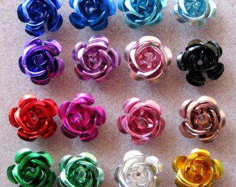 You Pick Colors and Quantity Extra Large Aluminum Flower Beads 16mm 204
