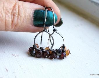 Gemstone Cluster Earrings , Handmade Gemstone Hoop Earrings , Oxidized Sterling Silver Earrings , Garnet , Carnelian , pyrite