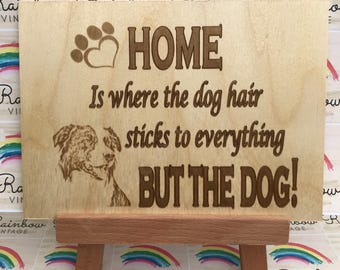 Dog - Home is Where the Dog Hair Sticks to Everything but the Dog - Wooden A5 Sign/Plaque