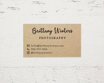 Custom Printed Brown Kraft Business Cards, Etsy Business Cards, Printed Business Cards, Kraft Business Cards, Calling Cards - Design #02