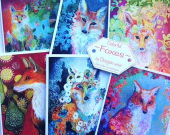 Colorful Foxes - set of Blank Note Cards by Jenlo