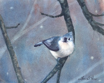 Titmouse Watercolor Print from an Original Painting by Laura Poss, Two sizes- 5 x 7 inches and 8 x 10 inches- Bird Art Giclee Reproduction