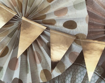 Gold Pennant Garland, Gold Foil Triangle  Banner, Gold Birthday Party Banner, Gold Baby Shower Bunting