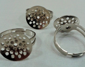 5 Pcs Silver Tone Color 20 mm Adjustable Ring ,16 mm  Perforated Ring