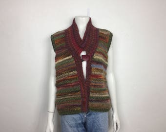 SALE Vtg 70s space dye chunky knit desert hues sweater vest cardigan