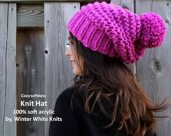 Acrylic knit hat, acrylic pom pom hat, winter acrylic hat, non-wool hat, slouchy hat, chunky knit hat, many colors available,  knit hat