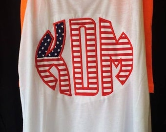 4th of July monogrammed tank