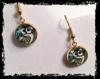 Owl earrings, owl, owl jewelry