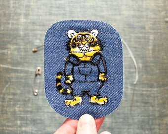 tiger in overalls patch . 1970s vintage patch . embroidered denim iron on patch, anthropomorphic animal patch