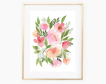Pink Coral Flowers - INSTANT DOWNLOAD