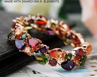 18k Gold Plated Colourful Crystal Bracelet Made With 36pcs Swarovski Crystal Elements