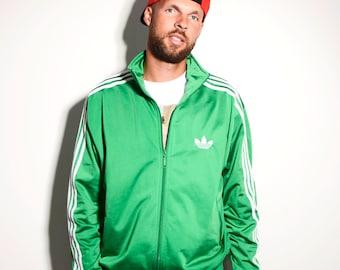 ADIDAS ORIGINALS vintage green track jacket | Old school 90's style sport jacket | Size - L