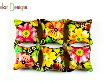 Polymer clay pillow beads - pink yellow orange flower beads - handmade beads -millefiori beads - 20mm (6)