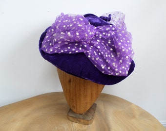 Vintage 50's Shagreen Model,England Deep Purple / Indigo Blue Velvet Hat with Polka Dot Net Veiling and Glass Leaf Bead Trim