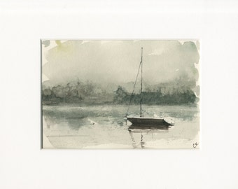 5x7 original watercolor of boat on lake