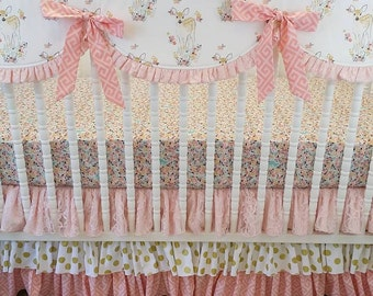 Girl Crib Bedding- Fawn Baby Bedding- Deer Bedding MADE TO ORDER- Girl Deer Bedding- Fawn Bedding- Pink Coral and Gold