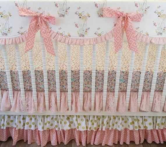 Girl Crib Bedding Fawn Baby Bedding Deer Bedding Made To