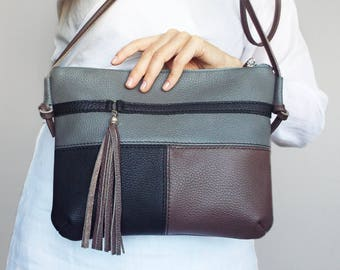 Leather crossbody bag. Small leather tassel purse.  Gray black brown leather shoulder bag. Everyday leather purse.