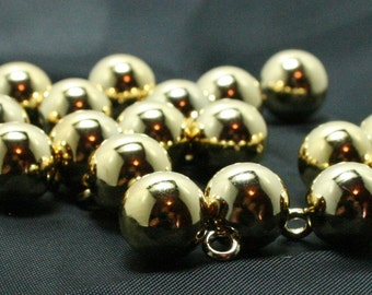 """Gold plated ball buttons with wire loop shank 10mm diameter (approx 7/16"""") Lot of 25"""