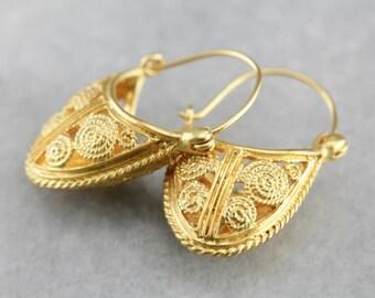 Fine Yellow Gold Filigree Drop Earrings, Bridal Jewelry 89TQQDYZ-P