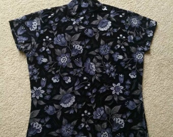 Vintage 90s short sleeve top with semi sheer floral design , black and purple with mock / turtleneck