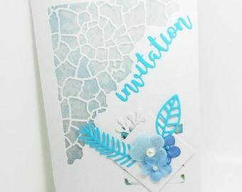 handmade vellum invitation card with envelope